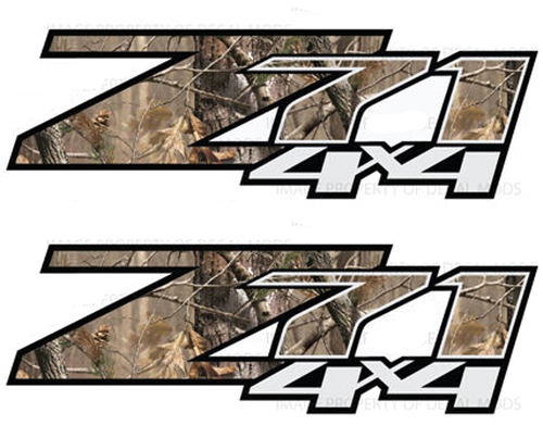 2 - Chevy Silverado Z71 4x4 decals Realtree AP Camo stickers side bed truck