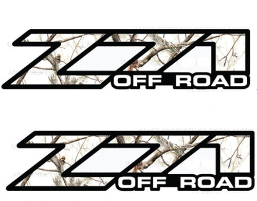 2 Chevy Silverado Z71 Off Road decals Realtree APS Snow Camo stickers 1500