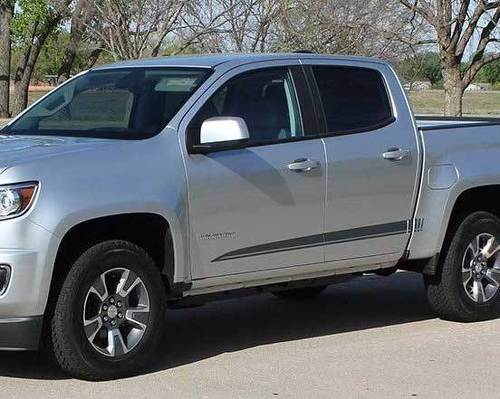 GMC Canyon and Chevrolet Colorado Graphics Rocker Decals Vinyl Stripes kit fits to 2015-2017