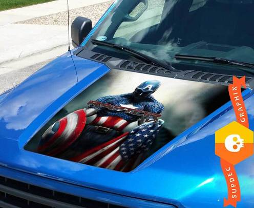 FORD F-150 HOOD Captain America Raptor SVT VINYL STICKER GRAPHIC fits to 2015-2016