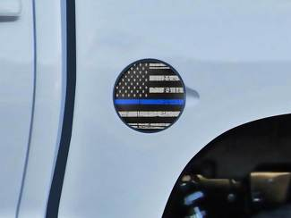 Toyota Tundra TRD 4X4 bed Gas Cap Fuel US flag blue line Graphic decals stickers fits models 2014-2016