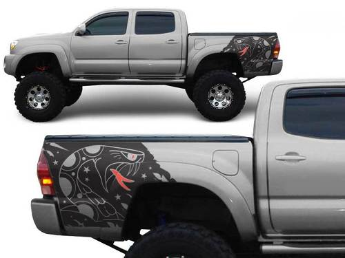 Toyota Tacoma TRD 4 x 4 bed SNAKE Custom Quarter Side Graphic decals stickers fits models 2005-2018