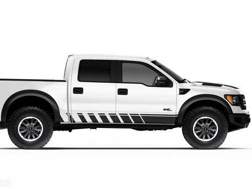 Ford Raptor Truck F-150 Bed Side Rocker Panel Stripes Graphic decals stickers fits models 2010-2014