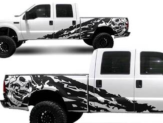 Ford Truck F-250 Side Skull splash Graphic decals stickers fits models 1999-2006