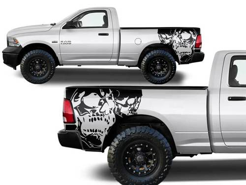Dodge Ram Truck 1500/2500 two SKULL Graphic decals stickers fits models 2009-2014