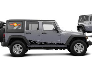 Jeep Decal | WRANGLER JK JL Gladiator Side Door Fender Window Rocker Panel Mountain Decal