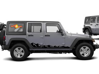 Jeep Decal | WRANGLER Side Hood Door Fender Window Rocker Panel Mountain Decal