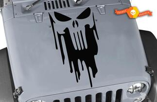 Jeep Wrangler TJ LJ JK The Punisher Blood Skull Vinyl Hood Decal Car Truck