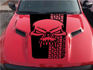Dodge Ram Skull Tire Tracks Rebel Hood Logo Truck Vinyl Decal Graphic Pickup