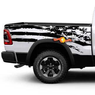 Dodge Ram Rebel American Flag Side Pickup Distressed Grunge Vinyl Graphic Decal