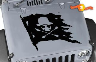 Jeep Hood Jolly Roger Skull Pirate Flag Vinyl Decal