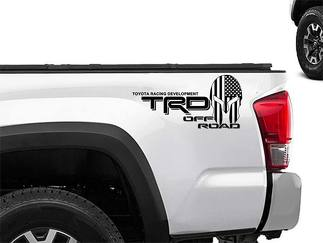 Toyota Racing Development TRD Spartan helmet in US flag edition 4X4 bed side Graphic decals stickers