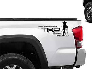 Toyota Racing Development TRD Spartan helmet in US flag edition 4X4 bed side Graphic decals stickers 2