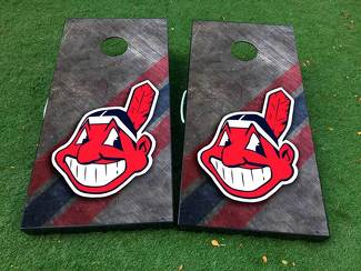 Cleveland Indians baseball Cornhole Board Game Decal VINYL WRAPS with LAMINATED