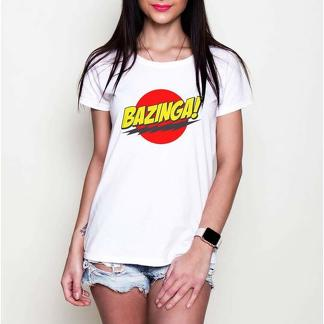 Bazinga! Sheldon Cooper The Big Bang Theory print black or white girls T-shirt tees