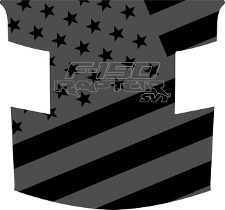 Ford Raptor F-150 Hood Graphics SUBDUED AMERICAN FLAG  2 Vinyl Decal