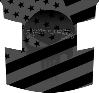 Ford Raptor F-150 Hood Graphics SUBDUED AMERICAN FLAG Punisher  Vinyl Decal