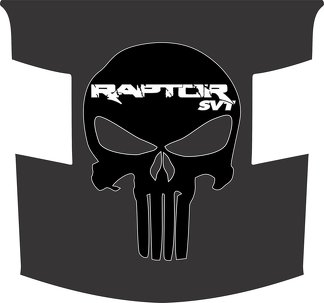 Ford Raptor F-150 Hood Graphics MATTE BLACK WITH GLOSS BLACK PUNISHER SKULL Vinyl Decal