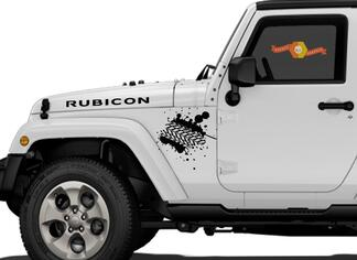 Mud Tire Tracks Jeep Vinyl Decal Hood  Rubicon Renegade Sticker Car Truck Vehicle kit