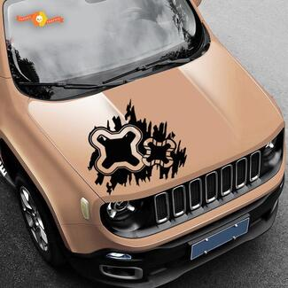 Jeep Renegade Logo Distressed Splash Vinyl Decal Hood Side Vehicle Graphic Rear