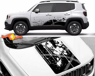 Jeep Renegade Bike Mountain Side & Hood Graphic Vinyl Decal Sticker Splash Grunge kit
