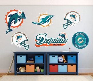 Miami Dolphins National Football League (NFL) fan wall vehicle notebook etc decals stickers
