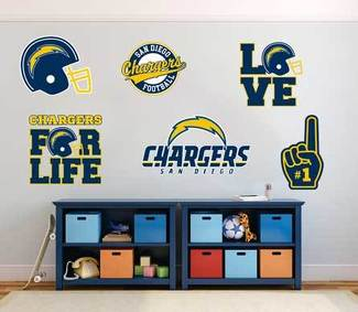 The Los Angeles Chargers team National Football League (NFL) fan wall vehicle notebook etc decals stickers