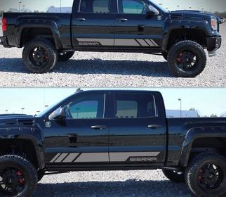 Decal Sticker Graphic Stripe Body Kit For GMC Sierra 1500 Light Chrome Fender