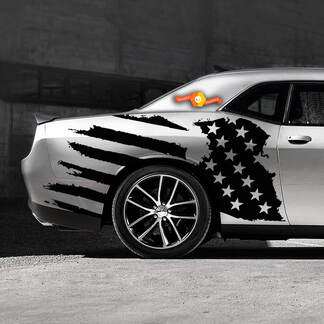 US USA flag distressed side decal fits to Ford Mustang Dodge Charger Chevy Camaro