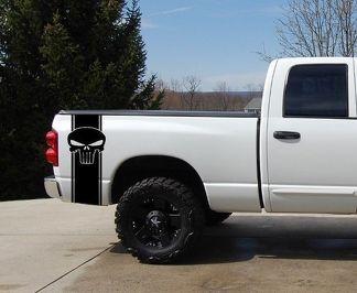 Punisher Pickup Truck Bett Streifen Aufkleber Set 2 Chevy Dodge Nissan Toyota Ford GMC