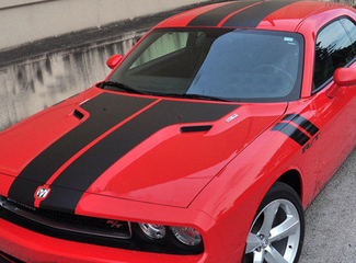2008-2014 Dodge Challenger Rally Racing T- hood Stripes & Fender R/T Decals