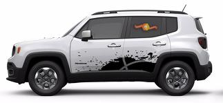 Jeep Renegade Bike Mountain Logo Graphic Vinyl Decal Sticker Splash Grunge SUV