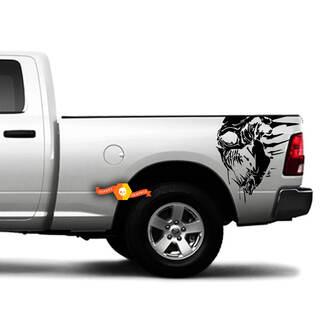 Dodge Ram Chevy Ford Grunge Schädel Side Truck Vinyl Grafik Aufkleber Bett Heckklappe
