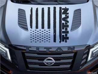 Nissan Titan Logo Hood Truck Vinyl Decal Graphic Distressed American Flag Pickup
