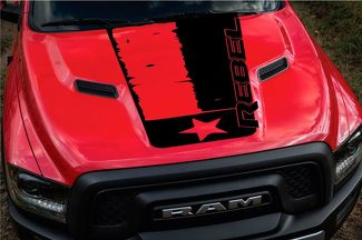 2015-17 Dodge Ram Rebel Distressed Texas Flag Hood Truck Vinyl Decal Graphic