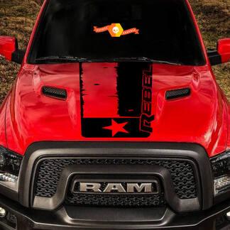 2015-17 Dodge Ram Rebel Distressed Texas Flagge Motorhaube LKW Vinyl Aufkleber Grafik