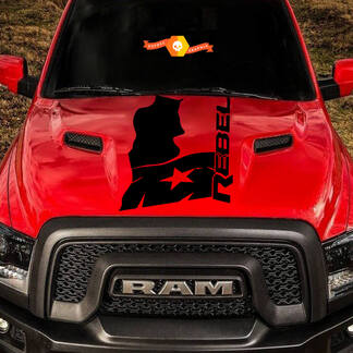 2015-17 Dodge Ram Rebel Distressed Texas Flag Hood Truck Vinyl Decal Graphic #3