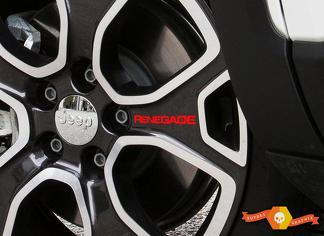 4pcs + 2FREE RENEGADE Vinyl Räder Felgen Aufkleber Aufkleber Grafik JEEP RENEGADE Rot