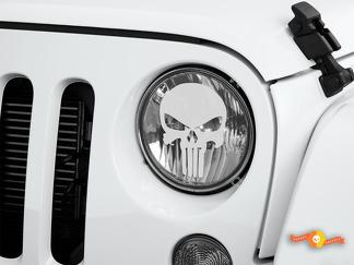 Punisher Jeep Wrangler Rubicon JK JKU TJ Decal Graphic Headlight Etched Glass Vinyl