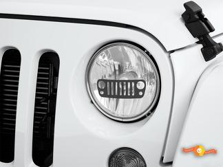 Grille Jeep Wrangler Rubicon JK JKU TJ Decal Graphic Headlight Etched Glass Vinyl