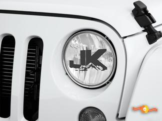 JK Jeep Wrangler Rubicon Decal Graphic Headlight Etched Glass Vinyl