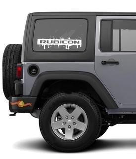 2pcs RUBICON SPLASH Side Window Decal Sets Graphic JEEP WRANGLER RUBICON SAHARA