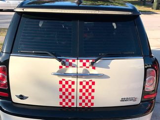 MINI COOPER CLUBMAN DUAL CHECKERED STRIPES VINYL DECALS STICKERS 2008-2013