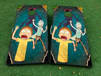 Rick and Morty 2 Cornhole Board Game Decal VINYL WRAPS with LAMINATED