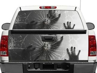 Handen achter gebroken glas achterruit of Tailgate Decal Sticker Pick-up Truck SUV-auto