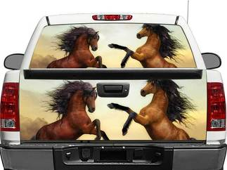 Horses Brown Rear Window OR tailgate Decal Sticker Pick-up Truck SUV Car