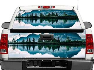 Mountains Lake Landscape Rear Window OR tailgate Decal Sticker Pick-up Truck SUV Car