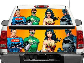 Superman, Batman, Wonder Woman, Green Lantern  Rear Window OR tailgate Decal Sticker Pick-up Truck SUV Car