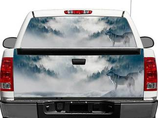 Wolf in Mountains Rear Window OR tailgate Decal Sticker Pick-up Truck SUV Car
