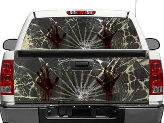 Zombie Hands Broken Glass Rear Window OR tailgate Decal Sticker Pick-up Truck SUV Car